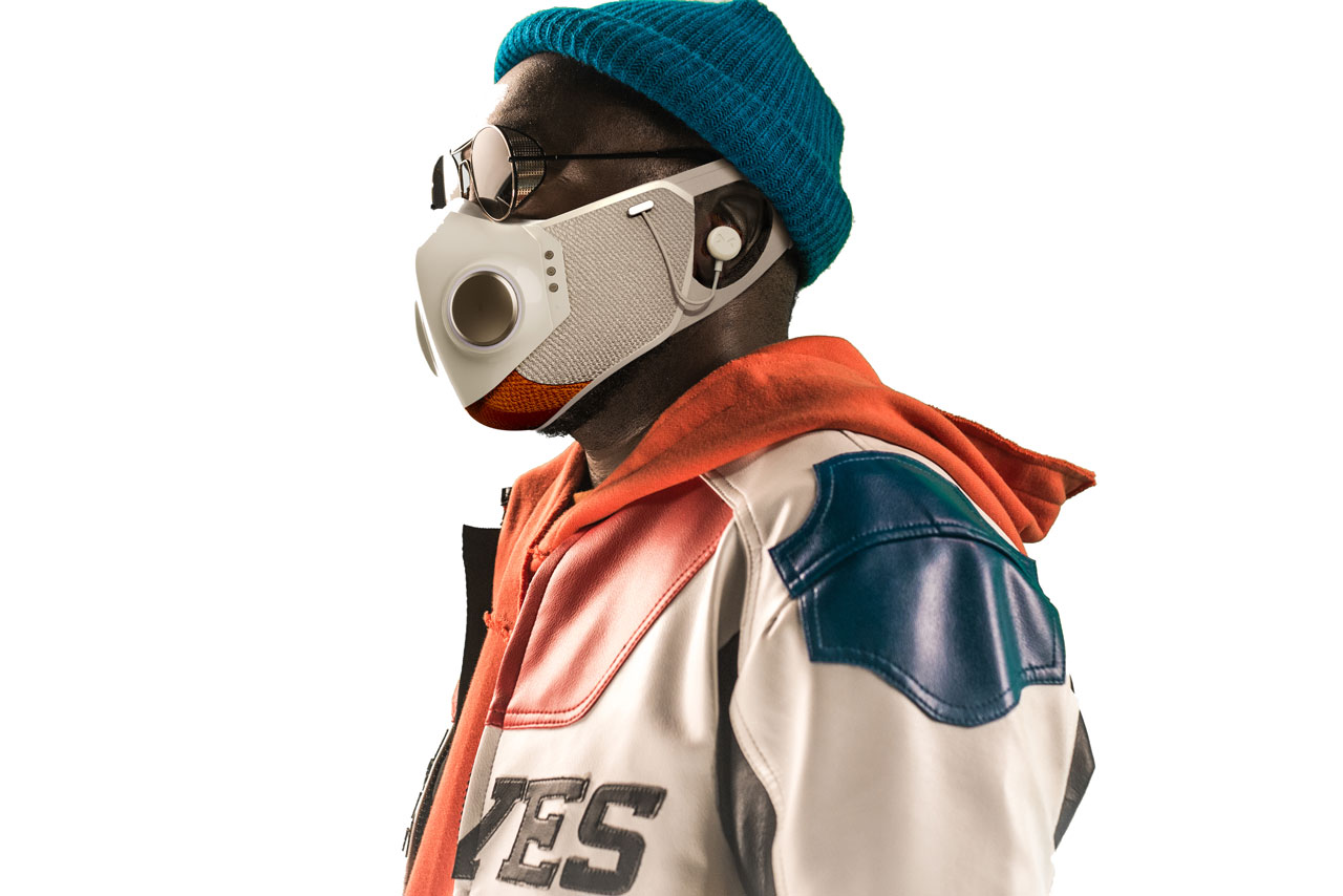 will.i.am . and honeywell drop 299 usd face mask with built in headphones and led lights a