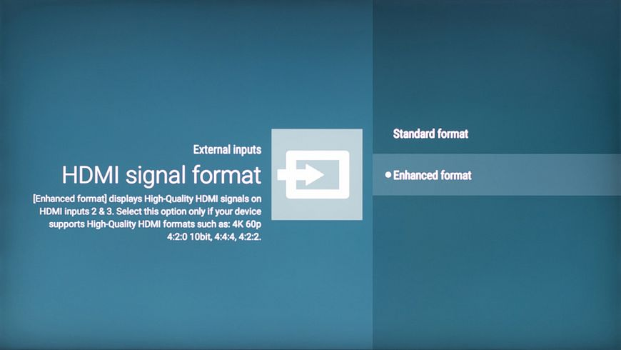 5. Activate the expansion mode of parameters of signal reception at the HDMI input
